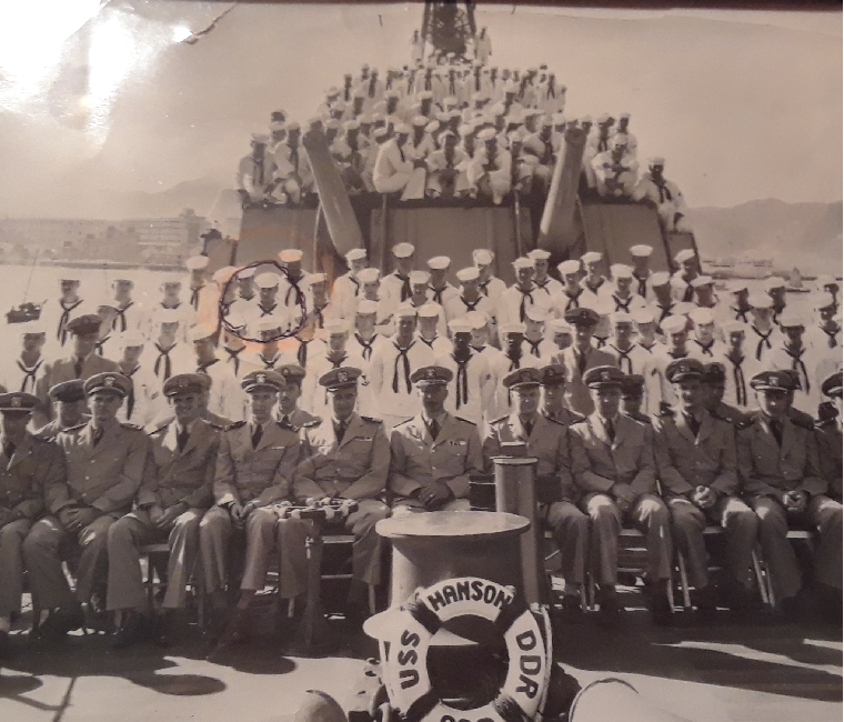 The crew of the USS Hanson, an American destroyer that was deployed to the Korean War