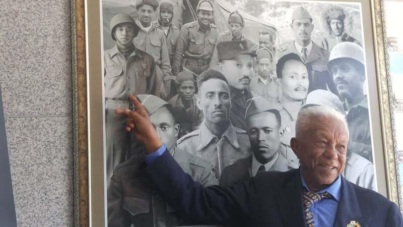 Melese Tessema, Korean War veteran from Ethiopia, points himself out in a picture at a memorial in Chuncheon.