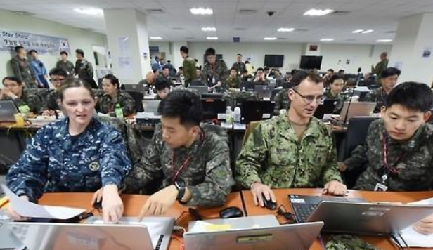 South Korean and U.S. soldiers engage in a computer simulated exercise called Key Resolve in Busan.