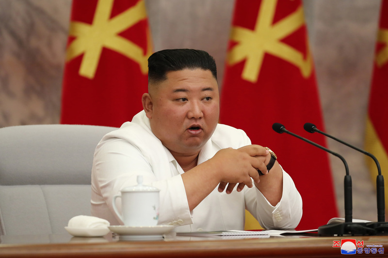 North Korean leader Kim Jong-un presides over a politburo meeting of the ruling Workers' Party in Pyongyang on July 2, 2020. This photo was released by the North's official Korean Central News Agency on July 3.