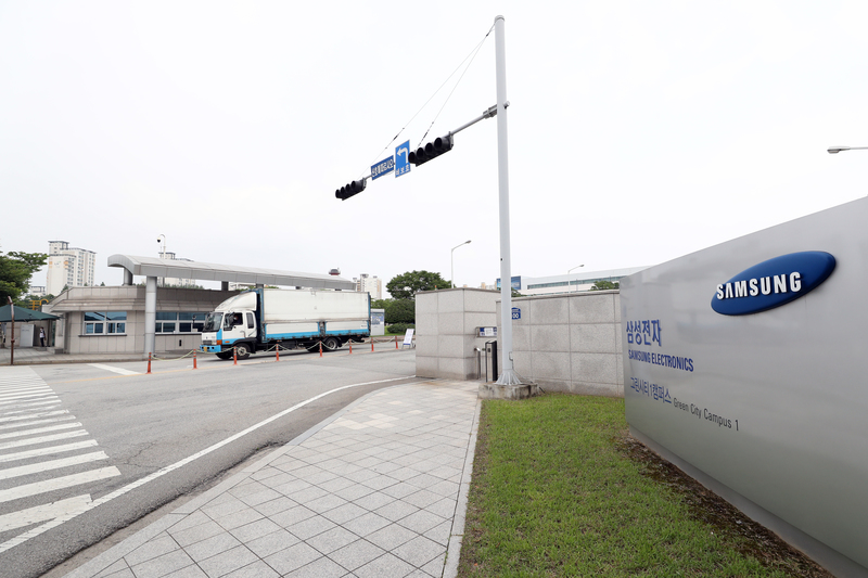 A freight truck leaves the Samsung Electronics production facility in Gwangju.