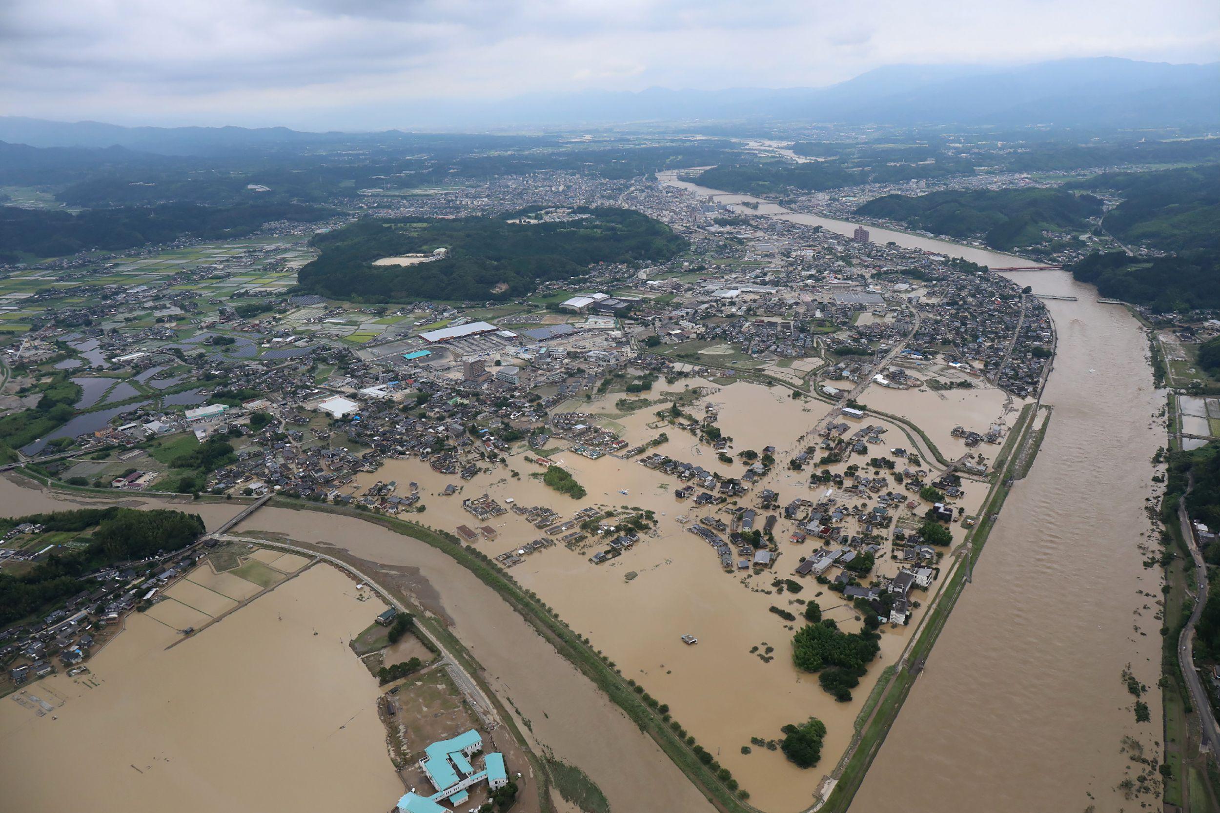 폭우로 침수된 일본 구마모토 현