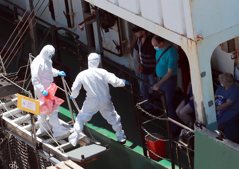 부산 입항 러시아 선박 검역