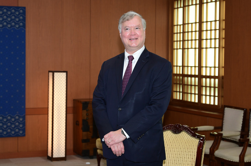 U.S. Deputy Secretary of State Stephen Biegun poses for a picture during a visit to South Korea's Ministry of Foreign Affairs on July 7, 2020.