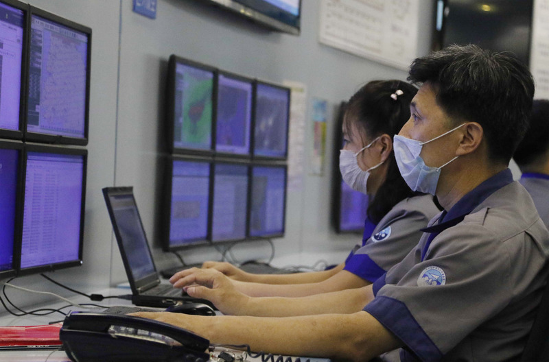 Officials of the State Hydro-Meteorological Administration in North Korea monitor data on the heavy rains on August 5, 2020.