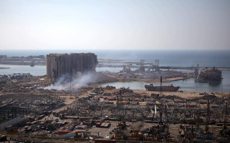 A partial view of the devastated Beirut port on August 6, 2020, two days after a massive blast shook the Lebanese capital.