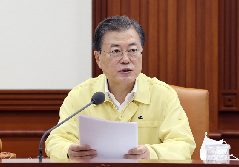 President Moon Jae-in speaks during an emergency government meeting to review the damage caused by heavy rains in the central and southern regions on August 11, 2020.