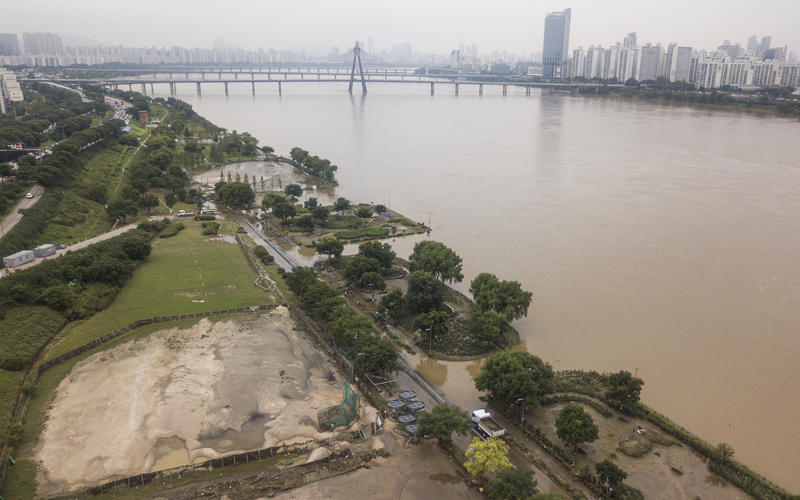 Areas of the Gwangnaru Hangang Park in Seoul's Gangdong District remain sumberged on August 13, 2020, after heavy monsoon rains caused major flooding.