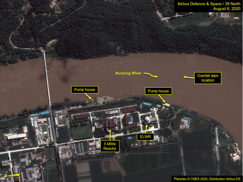 A view of the Yongbyon Nuclear Scientific Research Center shows flooding along the bank of the Kuryong River in Yongbyon, North Korea, on August 6, 2020.