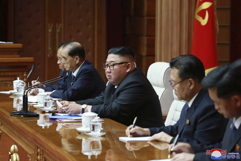 In this file photo, North Korean leader Kim Jong-un (C) attends a ruling party meeting in Pyongyang, North Korea, on August 13, 2020.
