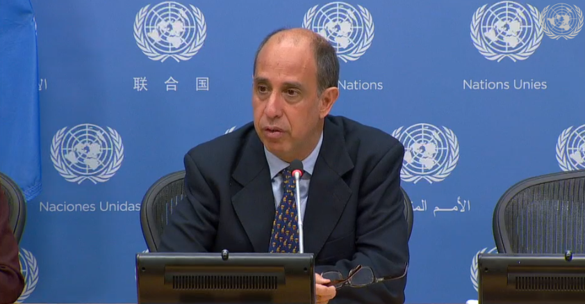 This screenshot taken from a video of a United Nations press conference shows Special Rapporteur Tomás Ojea Quintana speaking on North Korea's human rights situation on Oct. 23, 2019.