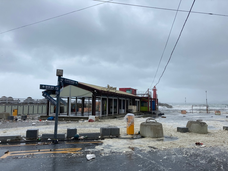 A seaside bus stop in Busan is flooded after Typhoon Haishen passed in waters off the port city on Sept. 7, 2020.