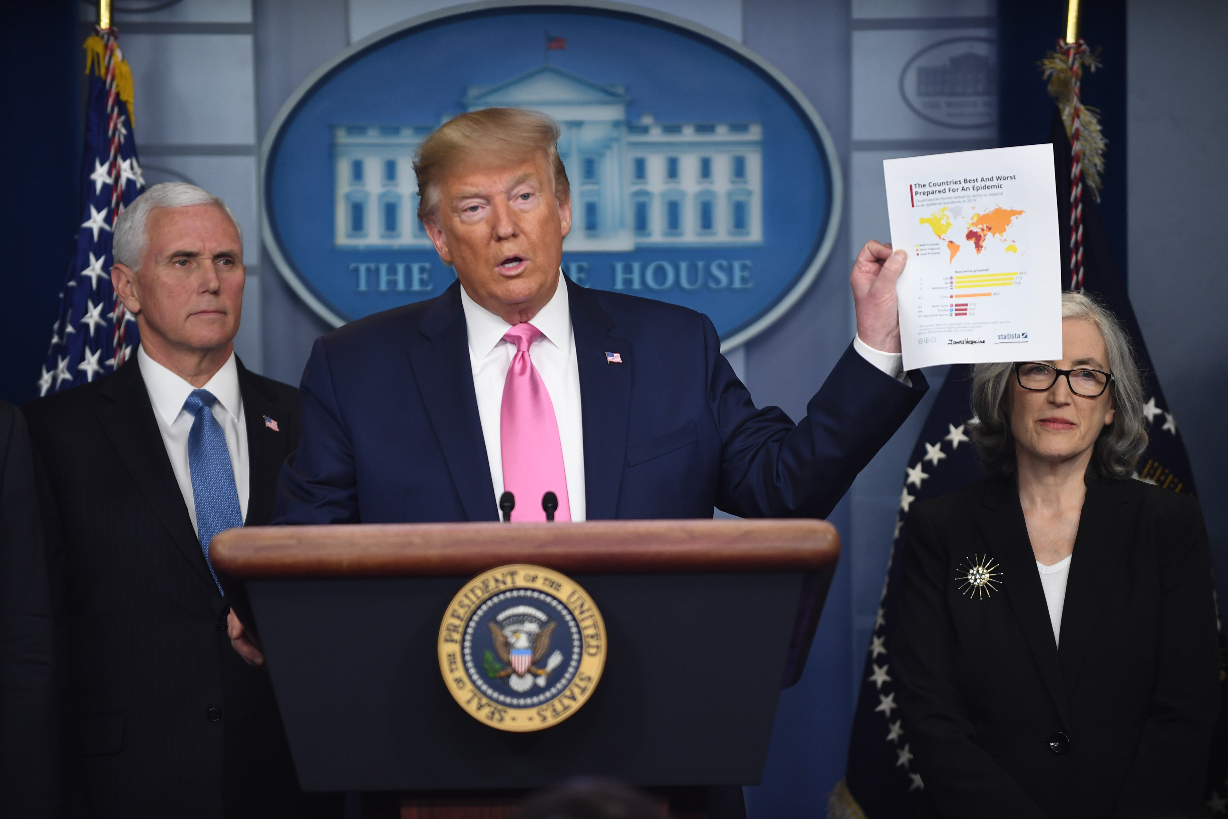 President Donald Trump holds up a a map showing the United States as No. 1 in preparedness during a press briefing on the coronavirus at the White House on Feb. 26, 2020.