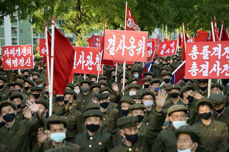 North Korean elite party members hold a mass rally at a plaza in front of the Kumsusan Palace of the Sun in Pyongyang on Sept. 8, 2020, to express their resolution help with with typhoon recovery efforts in the country's eastern regions in this photo released by the Korean Central News Agency.