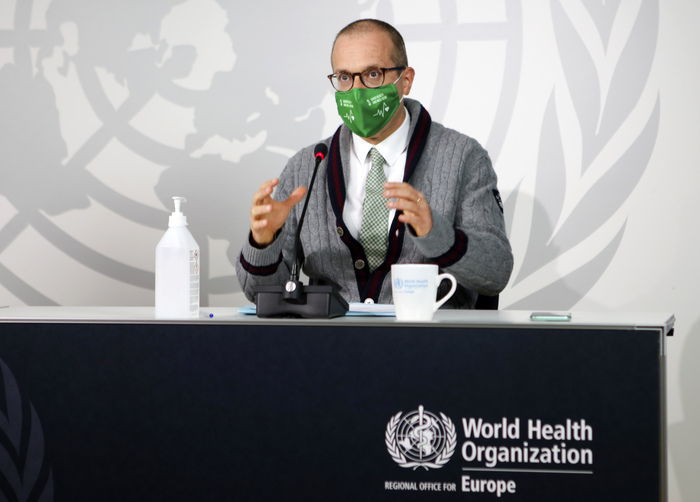 World Health Organization Regional Director for Europe Dr. Hans Kluge speaks about the worsening coronavirus situation during an online news conference on Sept. 17, 2020.