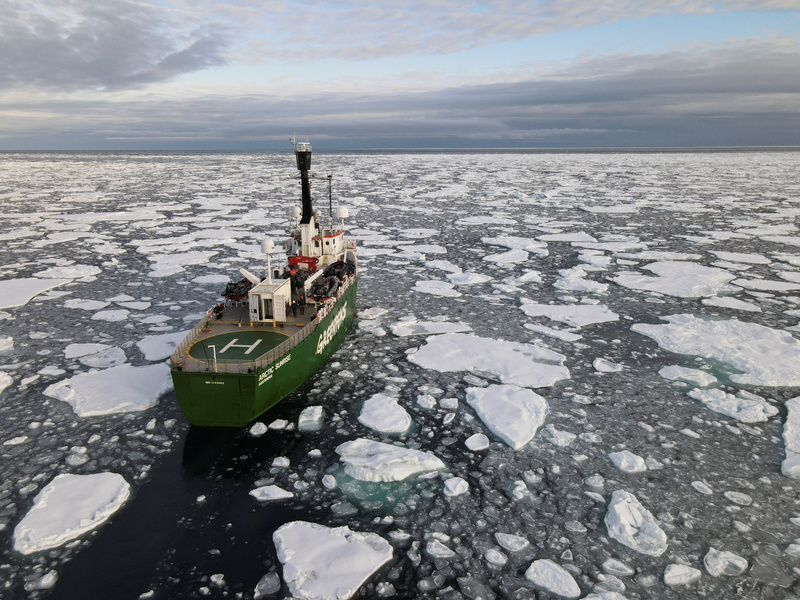 A Greenpeace ship navigates through floating ice in the Arctic Ocean on Sept. 15, 2020.