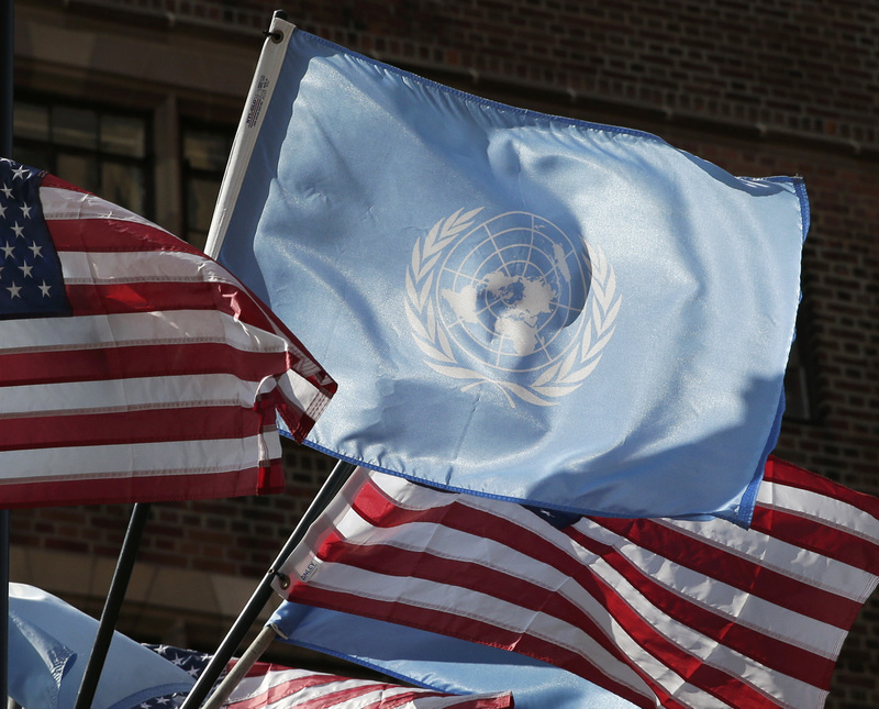U.N. and American flags flutter in the wind outside of the United Nations building in New York City on Sept. 21, 2020, one day before the 75th General Debate of the U.N. General Assembly.