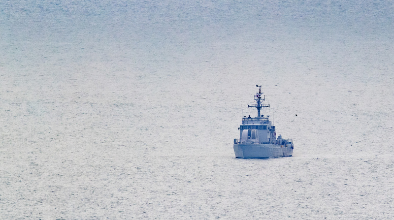 A South Korean Navy ship patrols waters off the coast of Incheon.