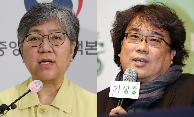 Jeong Eun-kyeong (L), the chief of the Korea Disease Control and Prevention Agency, and Oscar-winning director Bong Joon-ho were among those who made the TIME100 list of the world's most influential people of 2020.