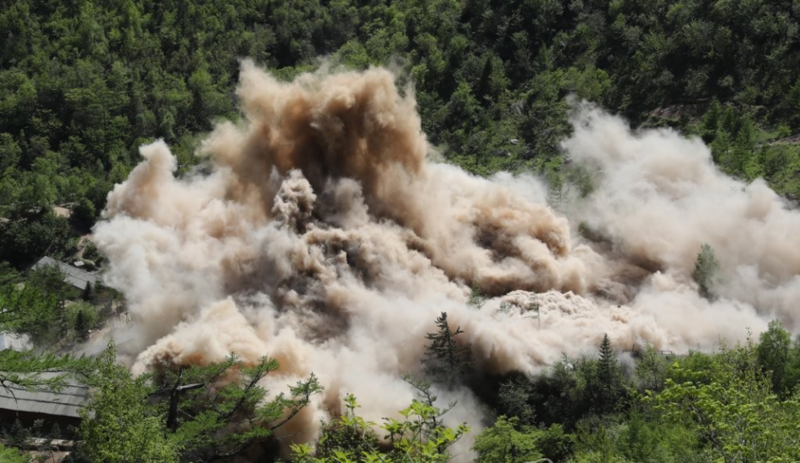 The No. 3 Tunnel at North Korea's Punggye-ri nuclear test site is blown up on May 24, 2018, during its dismantlement.