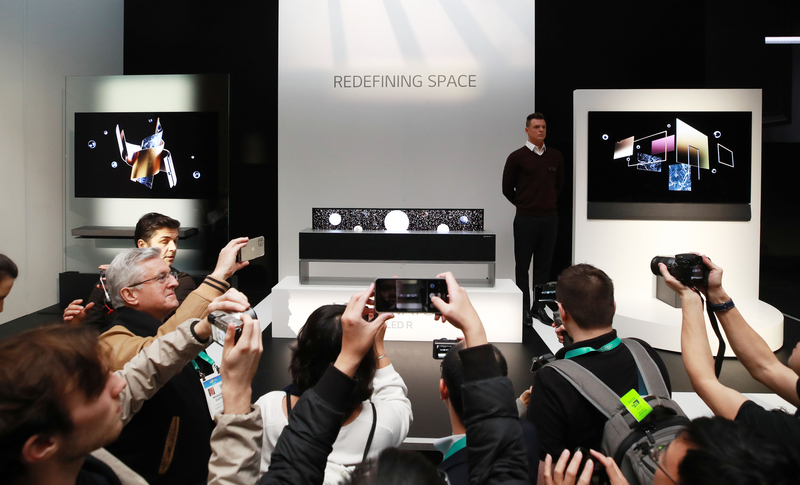 LG Electronics' rollable TVs were put on display during a press conference ahead of the Consumer Electronics Show 2020 in Las Vegas, Nevada, on Jan. 6, 2020.