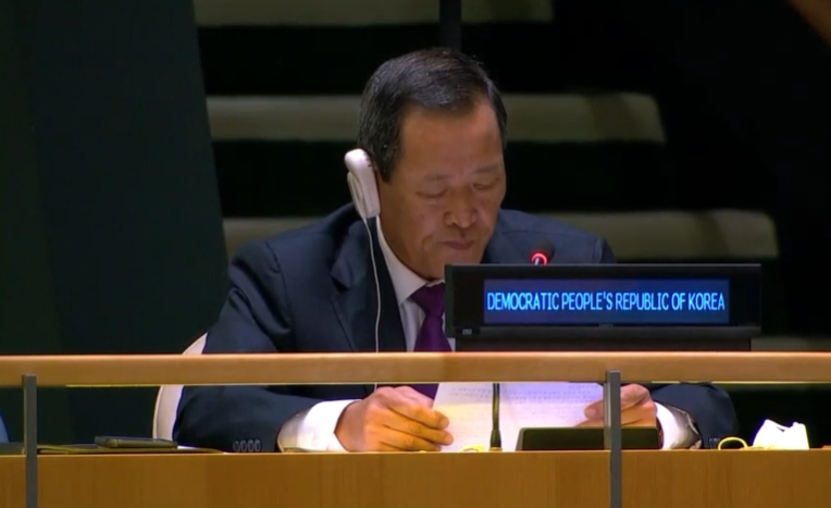 Kim Song, North Korea's ambassador to the United Nations, addresses the General Assembly on September 29, 2020.