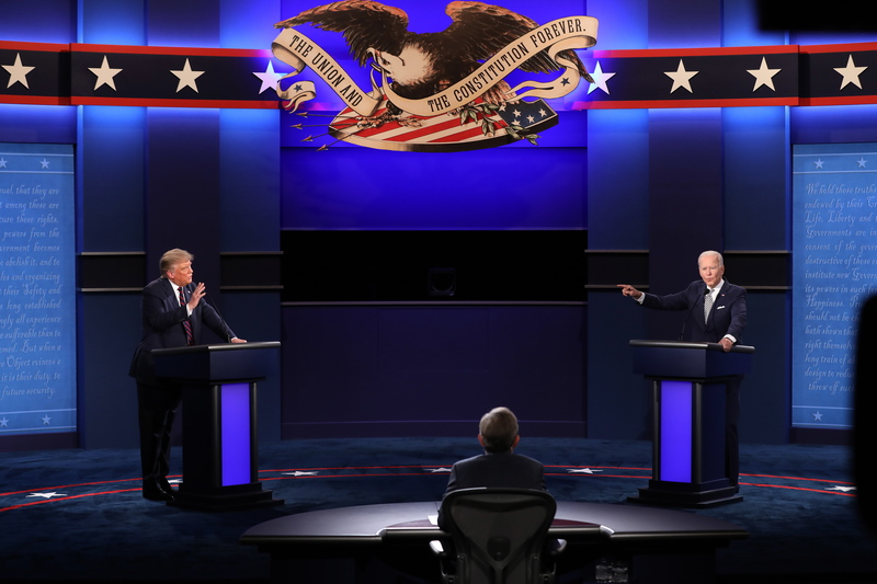 U.S. President Donald Trump (L) and his Democratic challenger Joe Biden duel it out during their first debate on September 29, 2020.