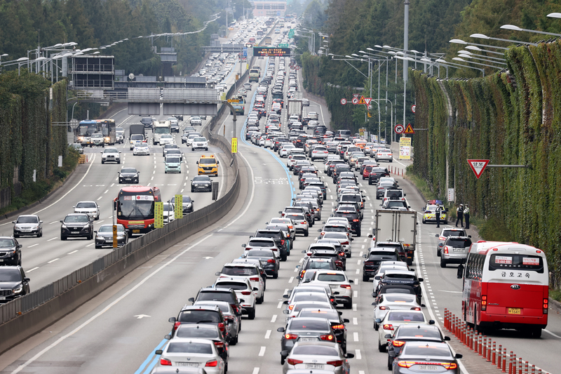 Cars are bumper to bumper on the southbound lanes of the Gyeongbu Expressway on the first day of the Chuseok holiday on September 30, 2020.