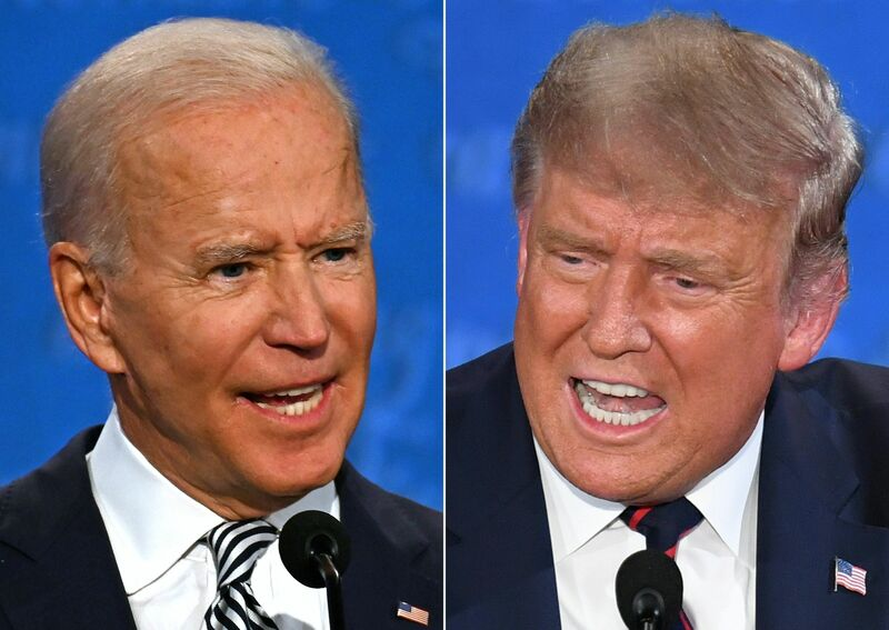 President Donald Trump (R) and Democratic nominee Joe Biden bickered at one another during their first debate on September 29, 2020.