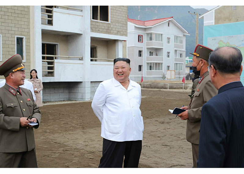 North Korean leader Kim Jong-un checks on flood recovery efforts in a Kangwon Province county in this picture released by the state-run Rodong Simun newspaper on Oct. 2, 2020.