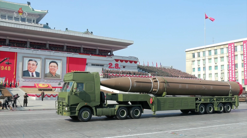 This stock photo shows North Korea showing off an intercontinental ballistic missile.