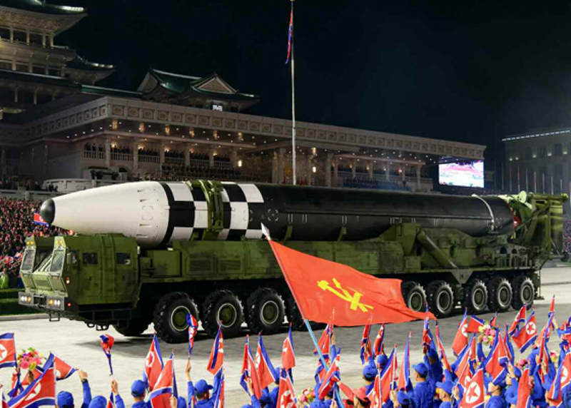 North Korea's new intercontinental ballistic missile is displayed during a military parade held in Pyongyang on Oct. 10, 2020, to mark the 75th founding anniversary of the ruling Workers' Party.