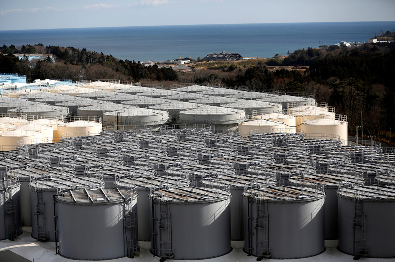 Storage tanks for radioactive water are seen at Tokyo Electric Power Company's tsunami-crippled Fukushima Daiichi nuclear power plant in Okuma town, Fukushima prefecture, Japan.