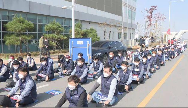 20일, 김포도시철도 노조 파업 결의대회 <사진=TBS>