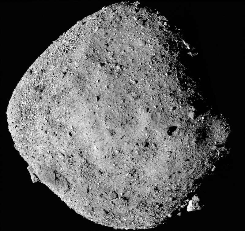 This undated photo made available by NASA shows mosaic image of asteroid Bennu collected by the OSIRIS-REx spacecraft.