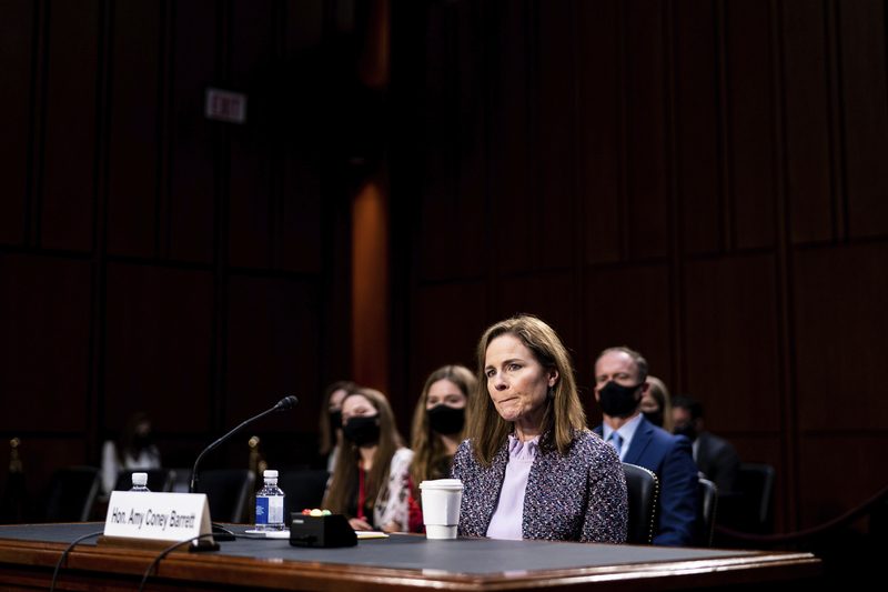 U.S. Supreme Court nominee Amy Coney Barrett listens during a confirmation hearing on Capitol Hill in Washington, D.C., on Oct. 14, 2020.