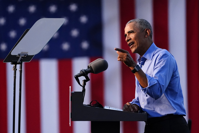 Former U.S. President Barack Obama speaks during a drive-in rally while campaigning for Democratic nominee Joe Biden in Philadelphia, Pennsylvania, on Oct. 21, 2020.