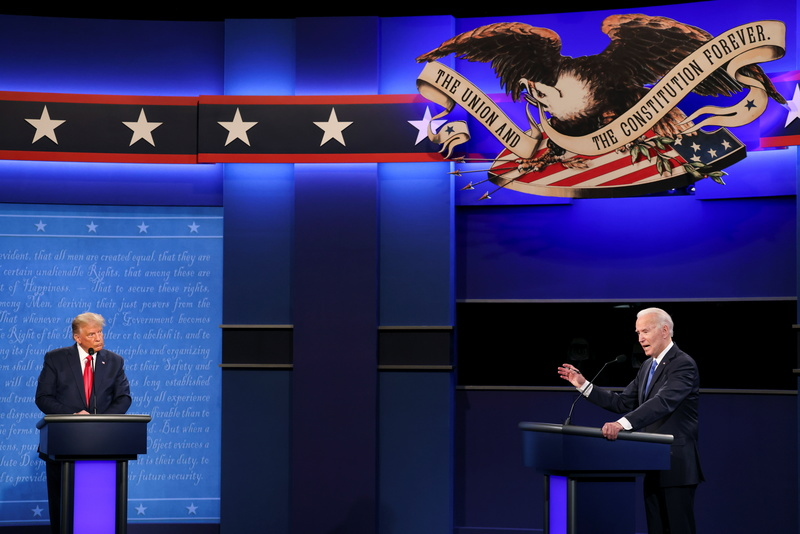 U.S. President Donald Trump and Democratic presidential nominee Joe Biden participate in their final presidential campaign debate in in Nashville, Tennessee, on Oct. 22, 2020.