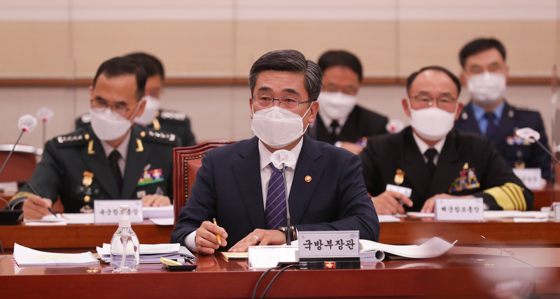Defense Minister Suh Wook responds to questions by lawmakers during a parliamentary hearing at the National Assembly in Seoul on Oct. 23, 2020.