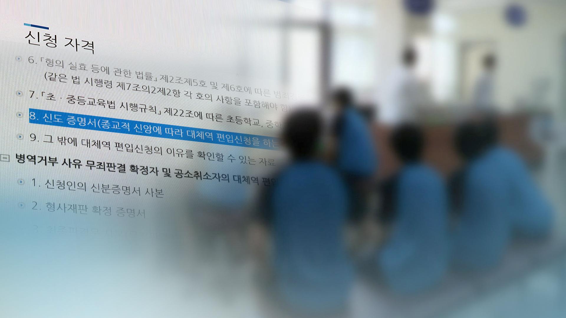 병역거부 대체복무제 26일 첫 시행…교도소 36개월 근무