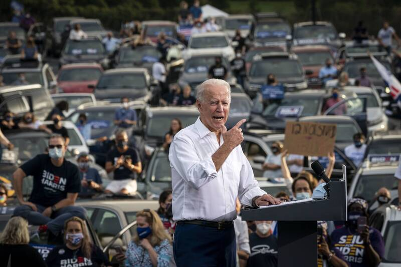 U.S. Democratic presidential nominee Joe Biden speaks during a drive-in campaign rally in Atlanta, Georgia, on Oct. 27, 2020.