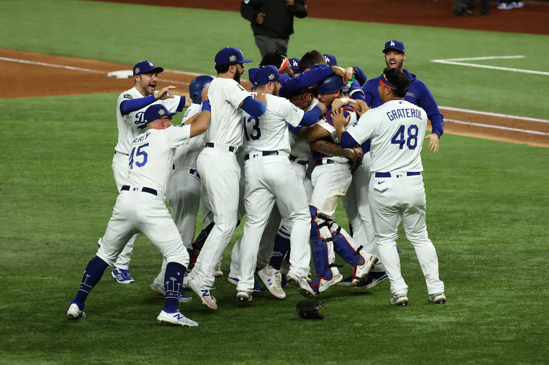 The L.A. Dodgers celebrate after winning the World Series for the first time in 32 years on Oct. 28, 2020.