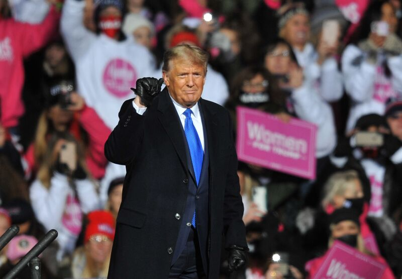 U.S. President Donald Trump speaks during a campaign rally in Omaha, Nebraska, on Oct. 27, 2020.