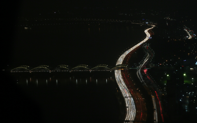 An aerial view of the Olympic Highway at night (Photo: Yonhap News)