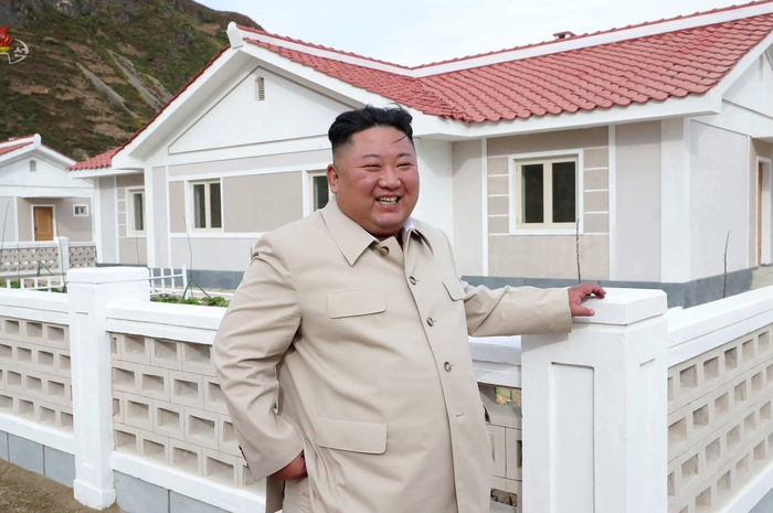 This still image taken from a KCNA TV report and provided by Yonhap News shows North Korean leader Kim Jong-un during a visit to the eastern coastal city of Sinpo in South Hamgyong Province, North Korea, in October.