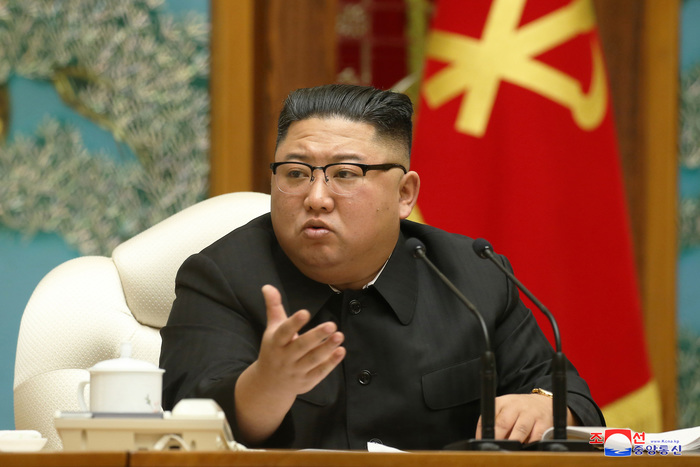 North Korean leader Kim Jong-un speaks during a politburo meeting of the Workers' Party on Nov. 15, 2020, in this photo released by the Korean Central News Agency and provided by Yonhap News.