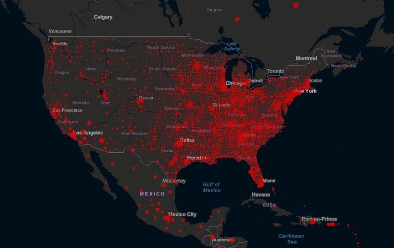 미국 코로나 누적 확진자 지도