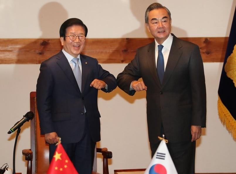 11월 27일 박병석 국회의장을 예방한 왕이 중국 외교부장
