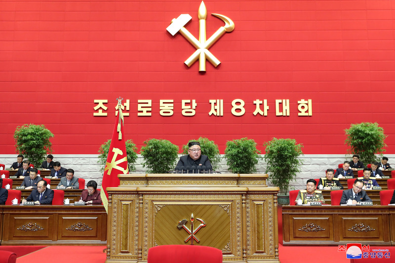 North Korean leader Kim Jong-un delivers a speech at the opening or a rare ruling party congress on Jan. 5, 2021. (Photo: KCNA-Yonhap News)