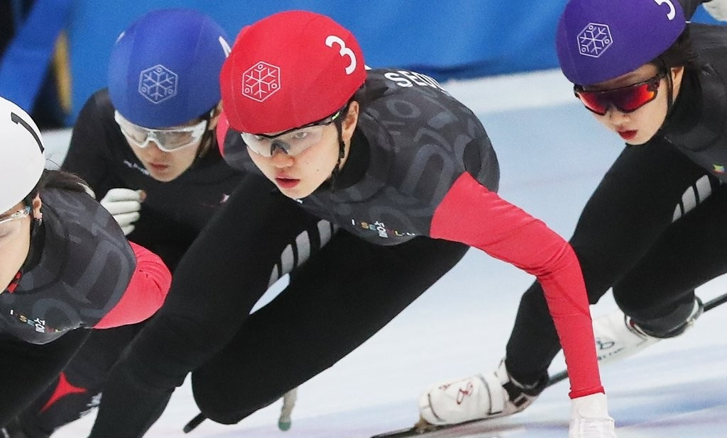 Short track speed skater Shim Suk-hee (third from left) takes part in last year's National Winter Sports Festival on February 18, 2020. (Photo: Yonhap News)